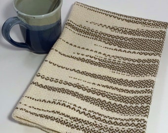 Handwoven 100% Cotton Dish Towel (natural and brown)