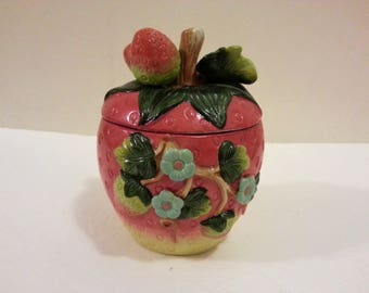 Ceramic Strawberry Canister with Lid