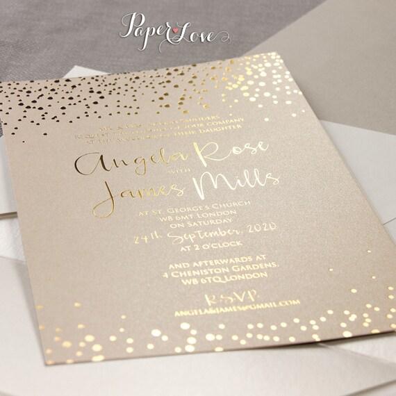 Gold foil confetti elegant wedding invitation for Gold foil wedding invitations canada