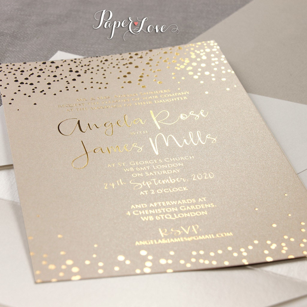 Gold Foil Confetti Elegant Wedding Invitation