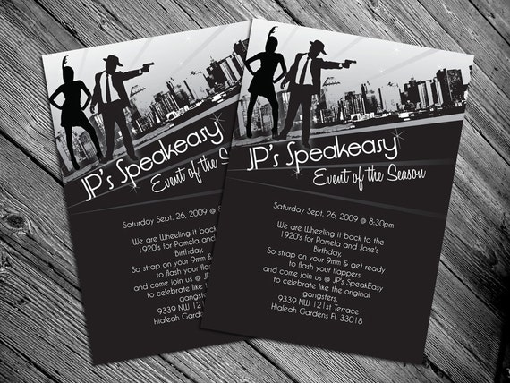 1920s or 1940s themed party invitation print it like this item filmwisefo Choice Image