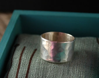Wide Sterling Silver Ring Band with Hammered Texture - Handmade - MADE TO ORDER