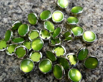 Lime Green Pearl Snaps, Pearl Snap Fasteners, 12 mm Pearl Snaps, Size 16 pearl snaps