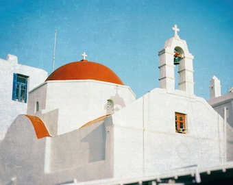 Greece Photography, Greek Islands, Red Dome, Church, Mykonos, white, cobalt blue, Turquoise, Wall Art, Travel Photo, Mediterranean Decor