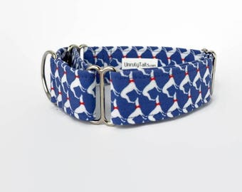 Dapper Greyhounds / Whippets on Blue  Dog Collar - Martingale Collar or buckle - Sighthounds in bow ties -houndstooth EXCLUSIVE PREORDER