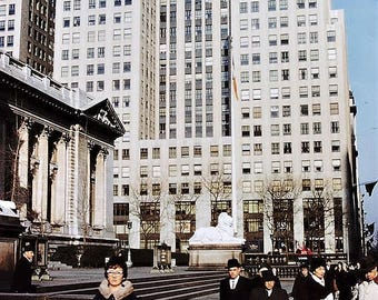 New York City , 5th Avenue and 41st Street -In Front Of The New York Public Library in 1962