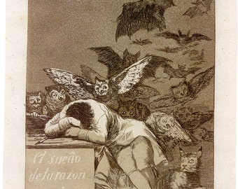 Fine Art Reproductions. The Sleep of Reason Produces Monsters: Final Etching and Drawings, 1799, by Francisco Goya. 3 Fine Art Prints