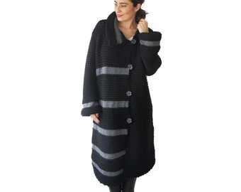 NEW! Black and Dark Gray Maxi Coat Cardigan by Afra Plus Size Over Size