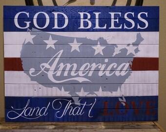 God Bless America Pallet Sign