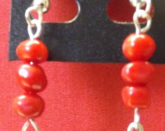 Coral and Turquoise Dangle Earrings  #182100