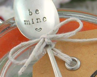 "Hand Stamped ""Be Mine"" Small Coffee/Teaspoon Stamped Spoon Love Heart Cute Upcycled Vintage Silverware Cutlery Gift/Keepsake Newsprint Font"