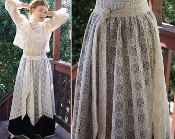 BLACK Velvet 1960's 70's Vintage Long Cream Lace Bohemian Maxi Skirt // size Medium // by Carefree Fashions