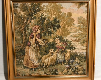 Tapestry Scene peasant + frame old wood late 19th early 20th century Vintage