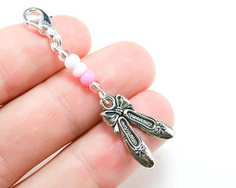 Ballet Lover Charm. Cute Dance Lover Charm. Beaded Ballet Shoes Charm. Dance Charm. BSC069