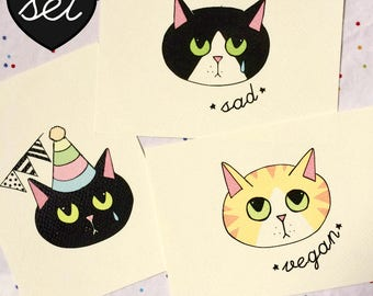 Set of 3 - Sad Kitten Postcard high quality art print - 200 gr paper - illustration  - black and white kitten vegan party red