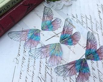 NEW Set of three small Dark Purple rainbow faerie wings