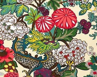 Chiang Mai Dragon Wallpaper in Alabaster Schumacher Wallcovering, Chinoiserie Style Chinese Dragon