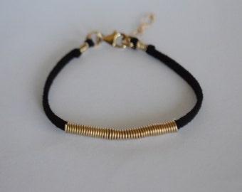 14k Gold Filled Black Suede Bangle Bracelet