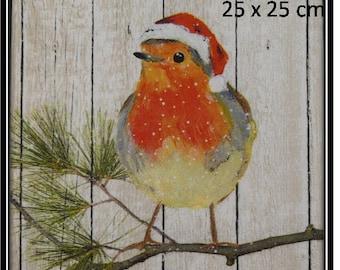 "Christmas napkin ""Redbreast with Santa hat"""