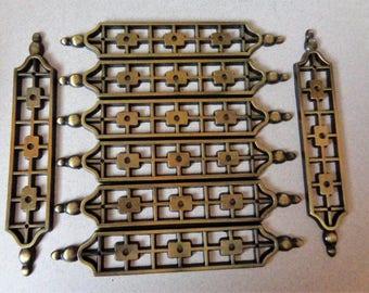 Vintage Antique Brass Tudor Backplates Craftsman Pull Back Plates hardware pierced design Metal set of 8