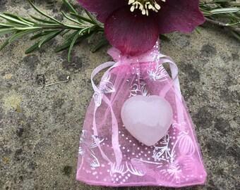Rose Quartz Puff Heart - 3 cms - Stone Of Unconditional Love