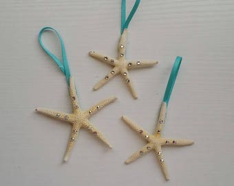 Three Small Starfish Ornaments with Swarovski Crystals
