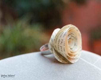 Paper Flower Ring, adjustable ring, recycled paper