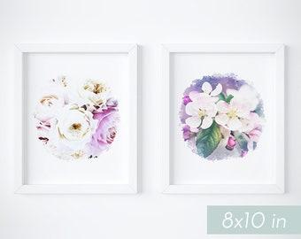 Printable botanical prints, instant prints, flower wall art set of 2, digital circle wall art, floral artwork, botanical art prints