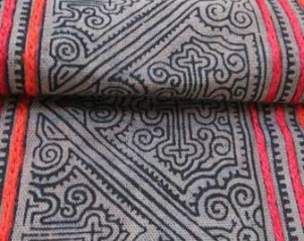 Vintage Brown Cotton Hmong Textile