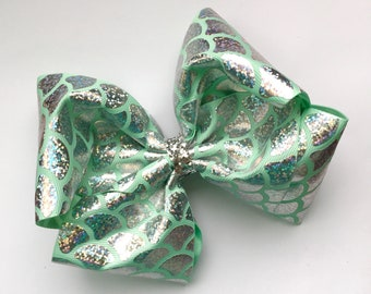 Extra large boutique mermaid print bow, extra large hair bow, big boutique hair bow, large boutique hair bow, sparkly mermaid scale hair bow
