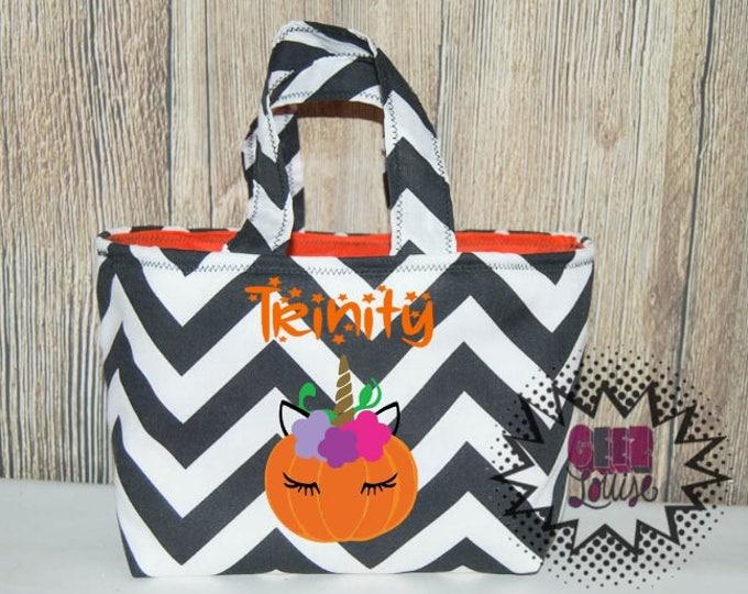Personalized Halloween Trick or Treat Bag Monogram Candy Ghost Skull Bat Pumpkin Costume Orange Black Unicorn First Witch