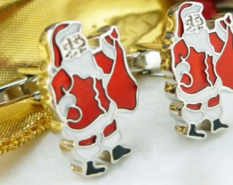 Santa Claus Winter Cufflinks Red and White Holidays Christmas Party Cuff Links