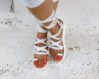 Lace up sandals, Comfortable sandals, Gladiator sandals, Tie up sandals, Leather sandals, Platform sandals, Wedding sandals, Strappy sandals