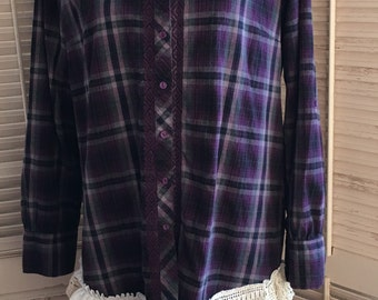Purple Plum Plaid Passion~Upcycled,Doilie,Western,Cottage Chic,Bohemian, Recycled, BoHo, Repurposed, OOAK,Large, X-large