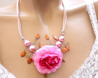 Pink flower branch necklace orange leaves
