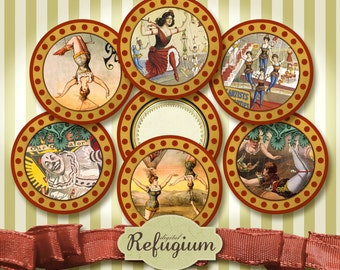 Cupcake Toppers Circus 12 round Images 2 inches, Digital Collage Sheet/ Instant download