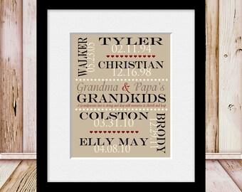 Grandkids Names and Birthdate Print, Personalized Grandparent Gift, Grandparents Anniversary, Grandparent's Gift, Grandparent's Day Gift