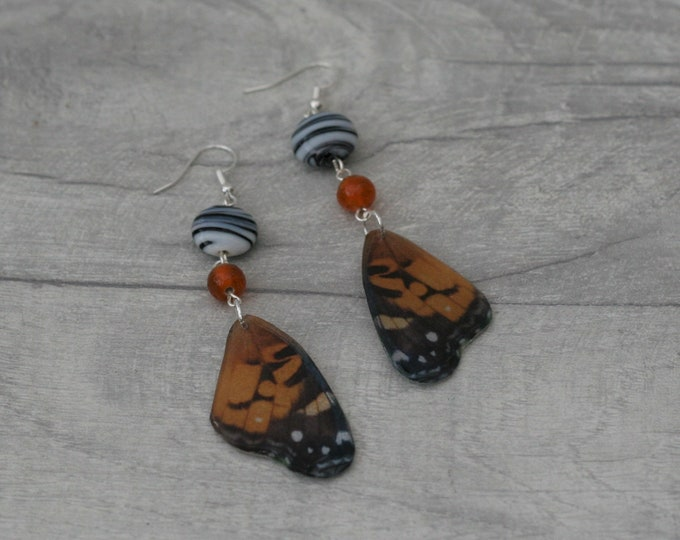 Orange Butterfly Earrings, Orange Butterfly Illustration, Dangle Earrings