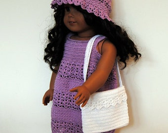 """Instant Download - PDF Crochet Pattern - 18"""" Doll Clothes 26 - Dress, hat and bag"""