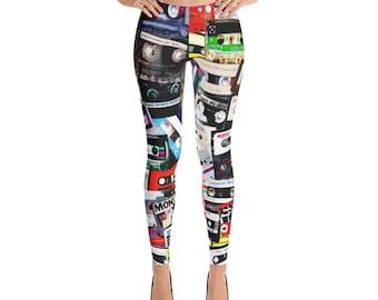 90s Hip Hop Clothing Cassette Tape Spandex Yoga Leggings Tights Retro 90s Clothing 80s Clothing Music Dance Vaporwave Aesthetic Burning Man