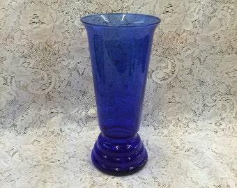 """Cobalt Blue Vase large Art Glass 12"""" inches, Art Deco Noveau"""