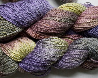 Dove, cott/ray stripe, hand dyed yarn, 300 yds - Deep Woods