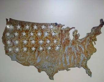 USA Map wall hanging with stars, rusted and cleared.  rustic decor