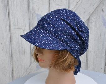 Bandana preformed visor, hat, scarf, headscarf Navy Blue with polka dots - one size
