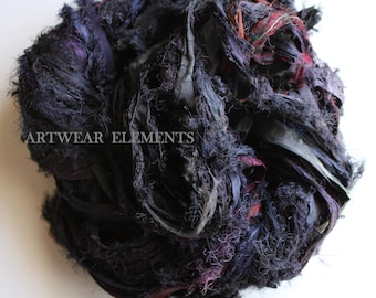 Sari Silk, Whiplash Blackish Purple Mix, New Recycled Sari Silk, Fair Trade, 6 Yards, Textile, Art Yarn, Ribbon, Silk, ArtWear Elements, 61b