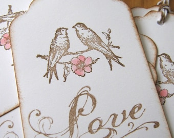 Wedding Wish Tags, Love Birds, Pink