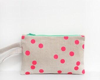 Neon pink polka dot linen wristlet / natural / green/ floral