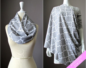 Quatrefoil Gray Nursing Cover Breastfeeding Poncho Infinity Scarf Baby Shower Gift for New Mom Cotton Jersey