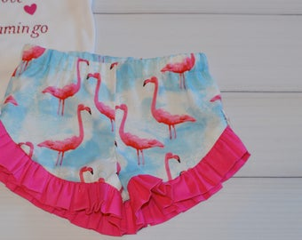 Flamingo toodler and girls ruffle shorts made to order