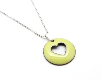 Yellow Heart Necklace - Lightweight Enamel Pendant with Sterling Silver Chain - Jewelry Gift for her